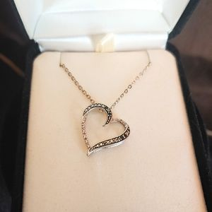 Kay Jewelers Sterling Silver Diamond Heart Necklace